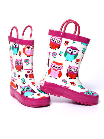 Timbee Pink Owl Rain Boots