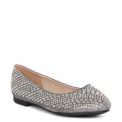Lauren Lorraine Brooke Pewter Flat with Crystal Embellishments
