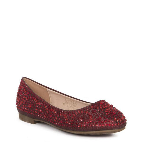 Lauren Lorraine Brooke Burgandy Flat with Crystal Embellishments