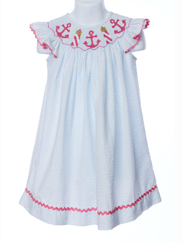 Banana Split Anchors Away Smocked Bishop Angel Sleeve Dress