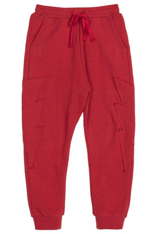 Paper Wings Boy's Red Organic Unbrushed Fleece Sweatpants