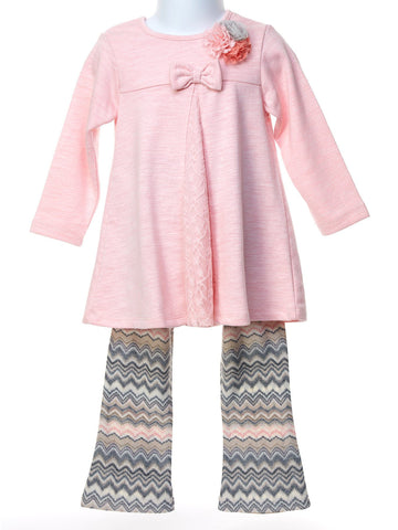 ef7c83b22e47f3 Cach Cach Precious Petal Pink Swing Top with Print Knit Pant