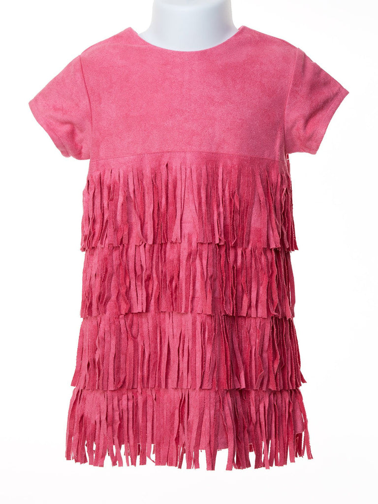 Twirl in Fringe Hot Pink Suede Dress