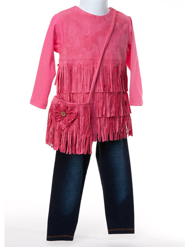 Cool Classic Hot Pink Suede Fringe Top & Denim Pant
