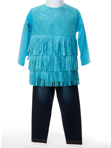 Vintage Teal Suede Fringe Top & Denim Knit Pant