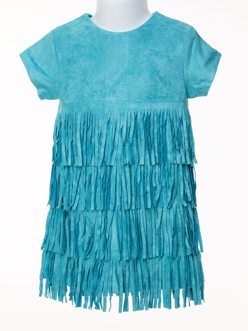 Vintage Inspired Teal Suede Dress with Fringe