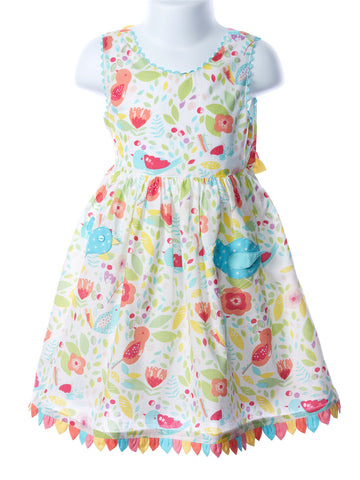 Cotton Kids Girls Bird Pocket Dress