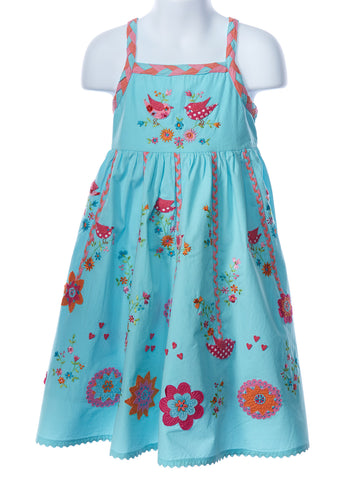 Cotton Kids Teal Folk Dress