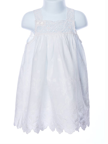 Cotton Kids Baby Girl Border Eyelet Lace Empire Dress