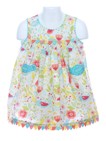 Cotton Kids Bird Empire Dress with Matching Panties