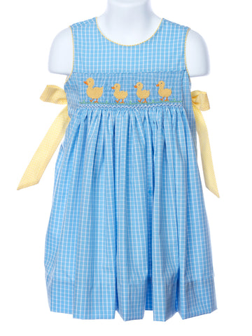 Claire & Charlie Smocked Ducks in a Row Wrap Dress