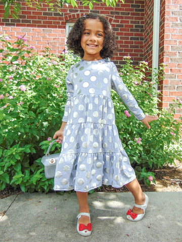 Tiered Knit Dress With Silver Dots