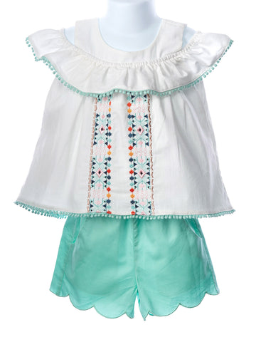 Evie's Closet Girls Scalloped Short Set