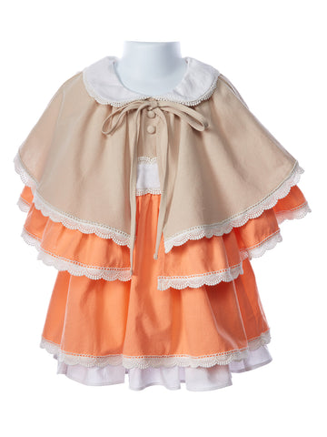 Evie's Closet Girls Linen Dress with Cape