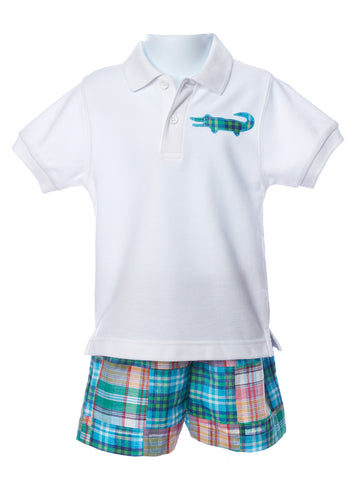 Funtasia Too Polo Gator Shirt with Patchwork Shorts