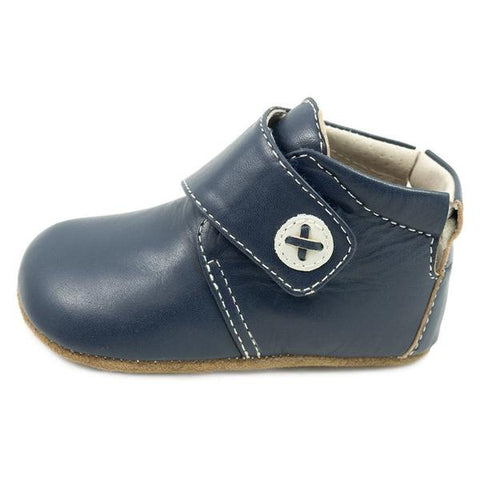 Livie & Luca Benny Navy Leather Baby Bootie
