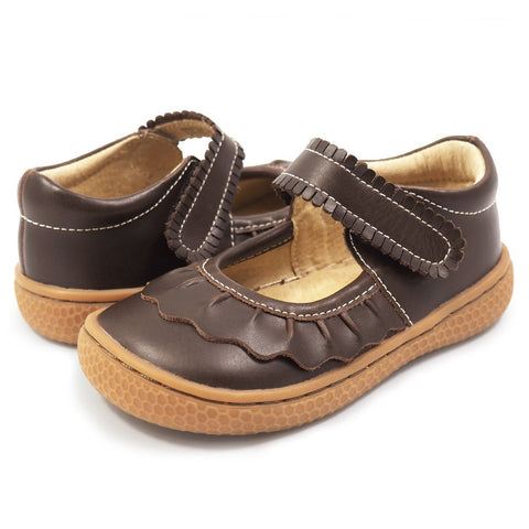 Livie & Luca Girl's Ruche Mocha Leather