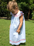 Fireworks & Pool Party Ready Blue Smocked Baby Angel Wing Dress