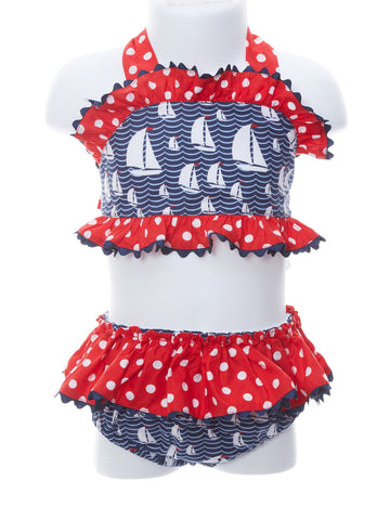 Banana Split Baby Girl Sailboat Red Dot Two Piece Swimsuit