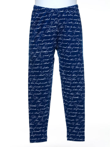 Navy Signature Script Leggings