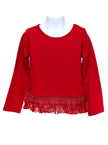 Long Sleeve Red Top with Fringe