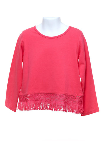 Long Sleeve Fuchsia Fringe Top