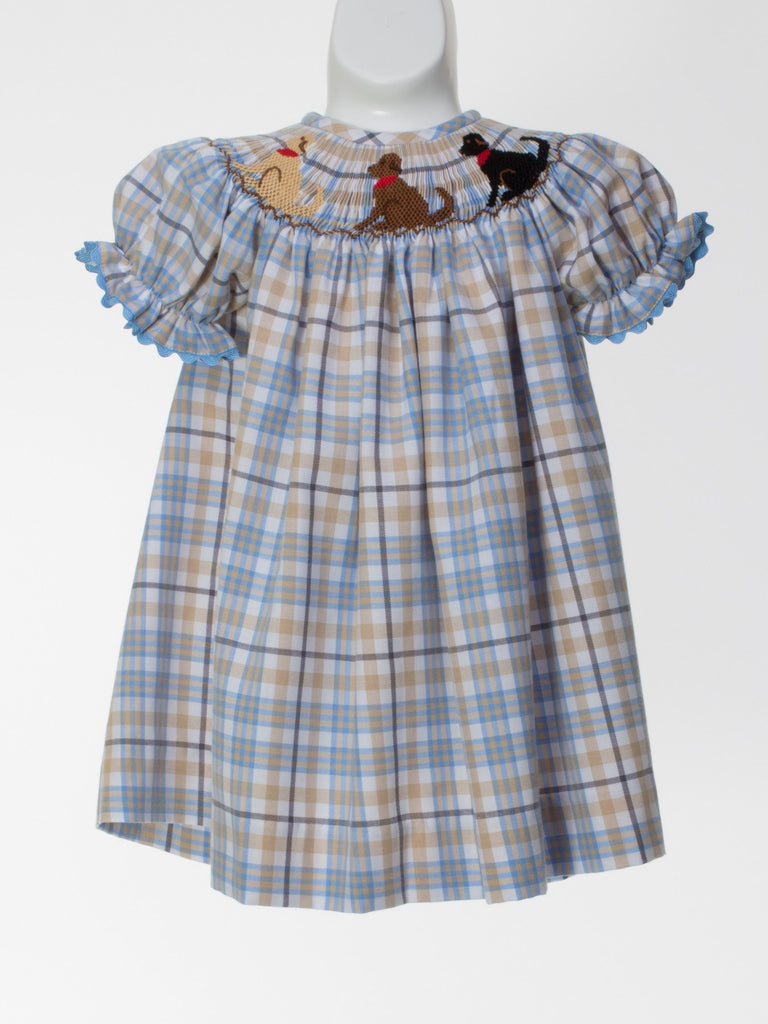 Smocked Puppy Short Sleeve Bishop Dress