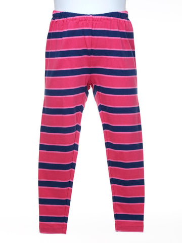 Navy and Pink Stripe Leggings