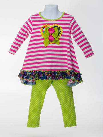 Pink and Lime Tunic and Legging Set