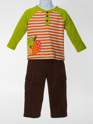 Boys Two Piece Set with Appliquéd Pumpkin