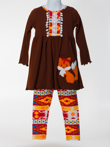 Tunic with Appliquéd Fox and Bright Geometric Print leggings