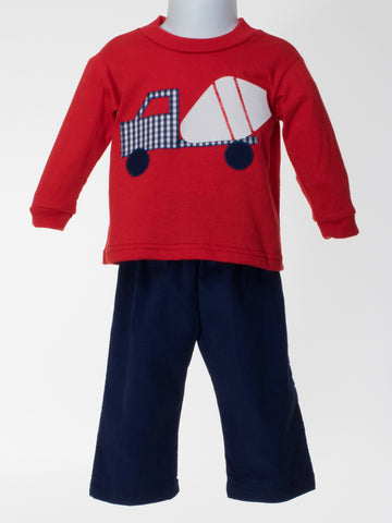 Appliqued Cement Truck on Red Knit Top
