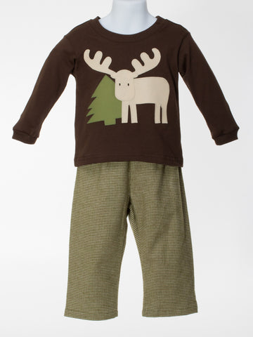 Pant Set with Appliquéd Moose