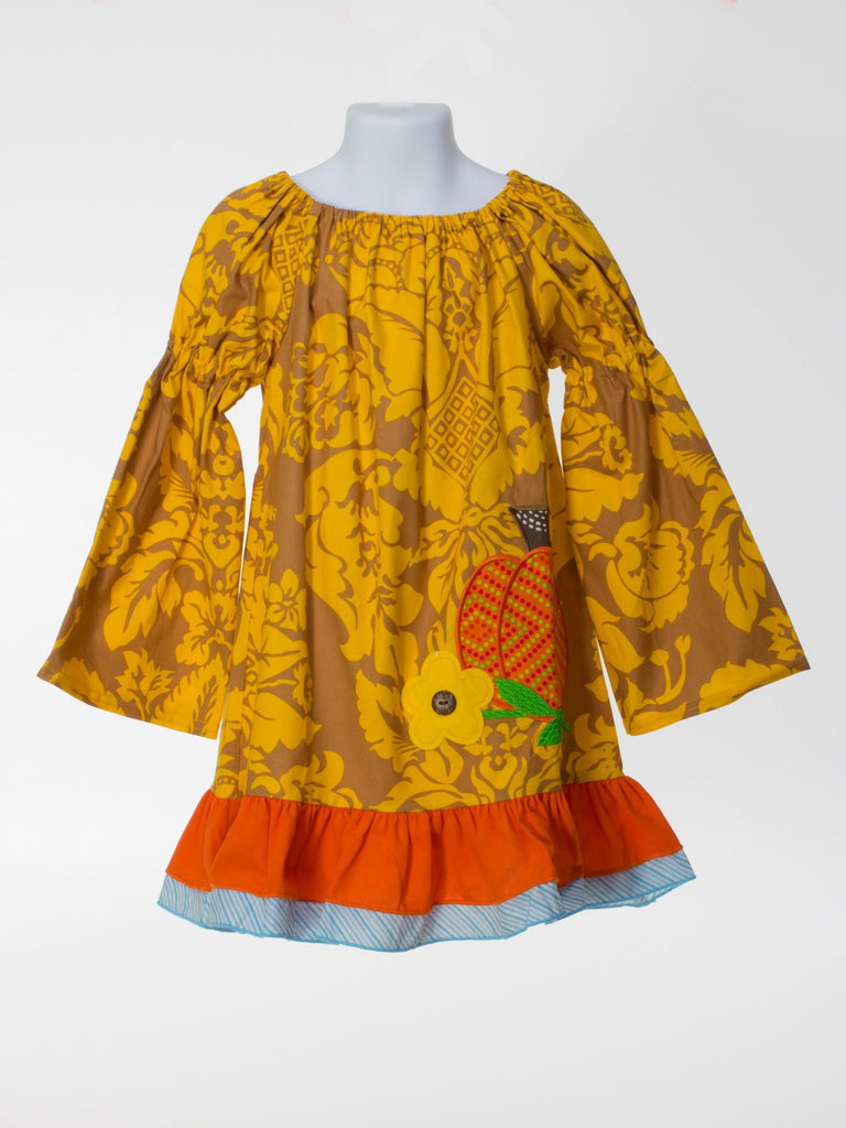 Pumpkin Dress with Peasant Sleeve