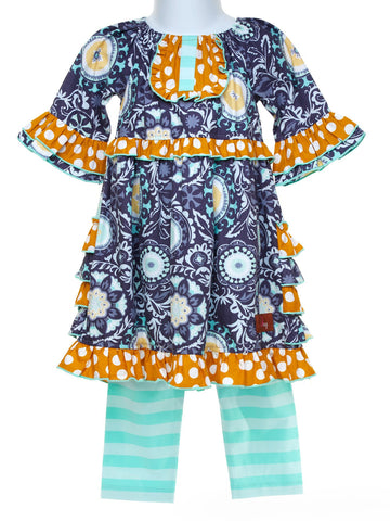 Toddler Vibrant and Whimsical Blue Dress with Stripe Leggings