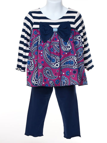Precious Paisley & Stripe Top with Leggings