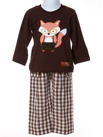 Baby Boy Sly as a Fox Set with Appliqued Shirt & Checked Pant