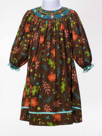 Autumn Leaves Chocolate Long Sleeve Bishop Dress