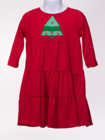 Knit Dress with Appliqued Christmas Tree