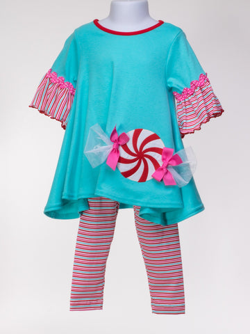 Peppermint Twist Tunic and Ruffle Sleeve with Leggings
