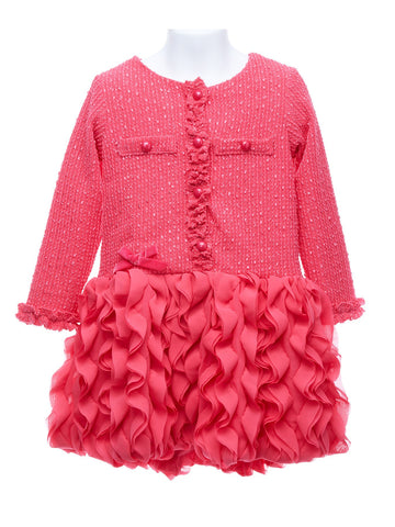 Hot Pink Boucle Dress