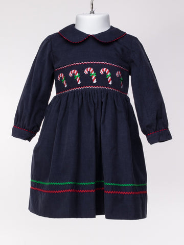 Smocked Candy Canes Dress with Collar in Navy Corduroy