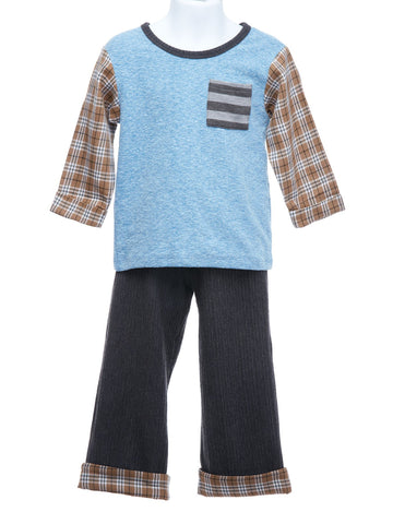 Cach Cach Boys Tee, Pants and News Boy Cap