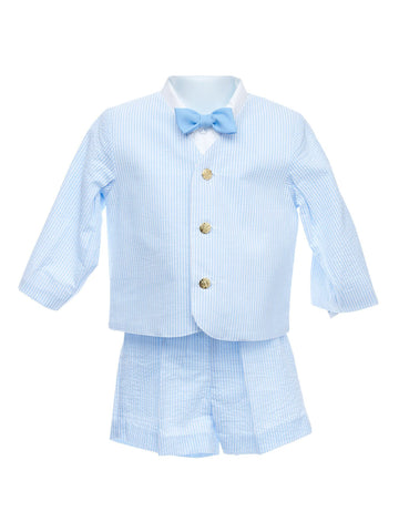 Boy's Boutique Sky Blue Seersucker 3pc. Suit
