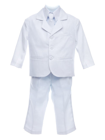 Dapper White Five Piece Boy's Suit