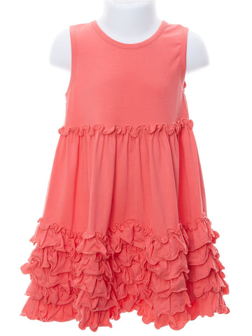 Coral Ruched Knit Dress