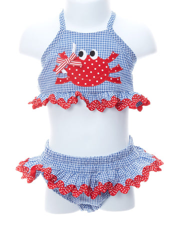 Happy Crab Two Piece Baby Girl Swimsuit