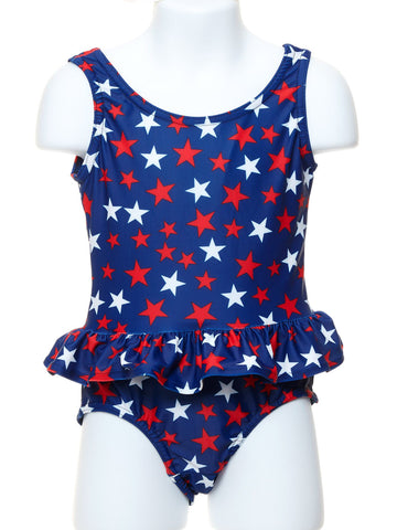 Girl's Swimsuit with Red and White Stars