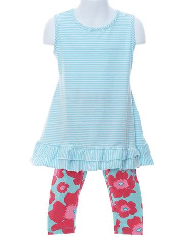 Mikki Aqua Stripe Tunic and Floral Capris