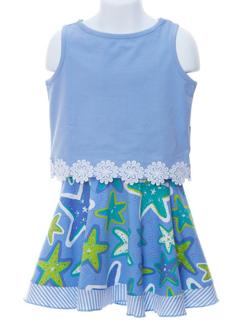 Springtime Fashion in Periwinkle Top & Starfish Skort